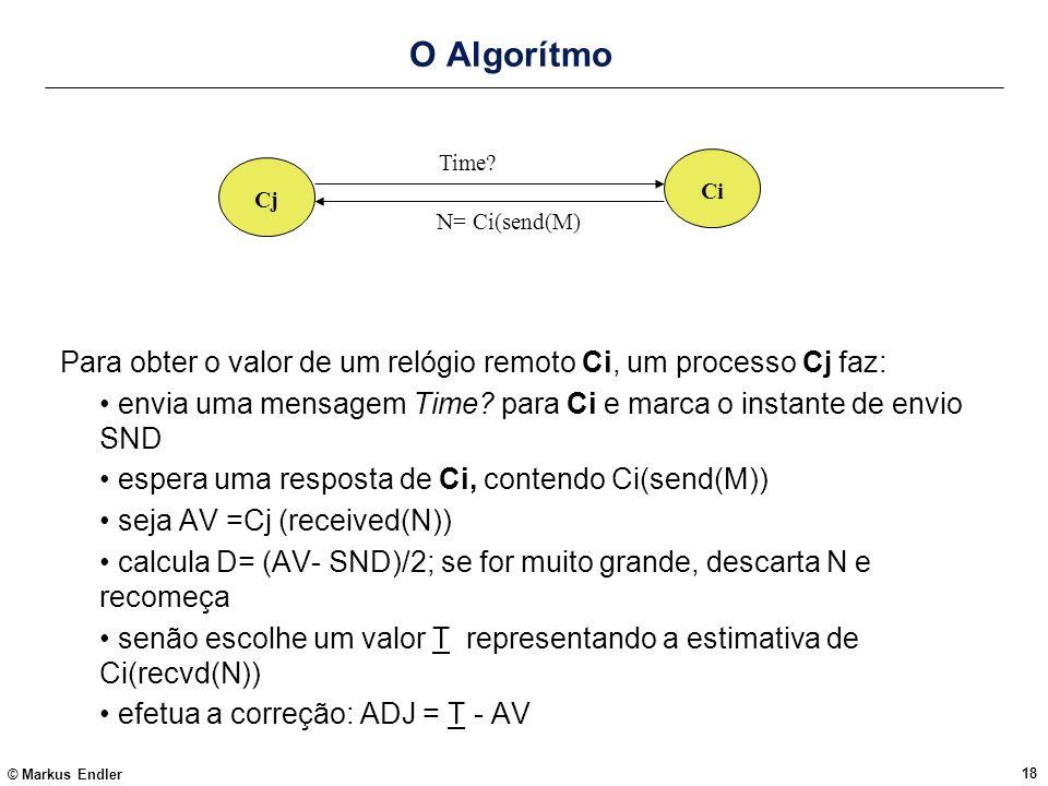 © Markus Endler 18 O Algorítmo Para obter o valor de um relógio remoto Ci, um processo Cj faz: envia uma mensagem Time? para Ci e marca o instante de