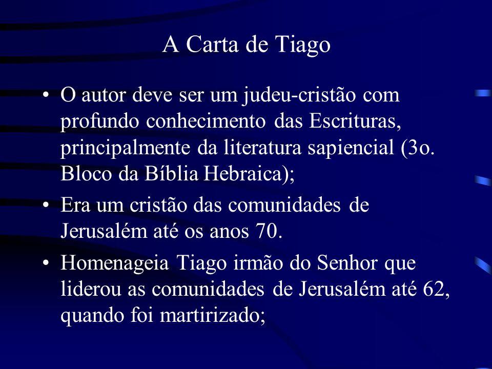 A Carta de Tiago O autor deve ser um judeu-cristão com profundo conhecimento das Escrituras, principalmente da literatura sapiencial (3o. Bloco da Bíb