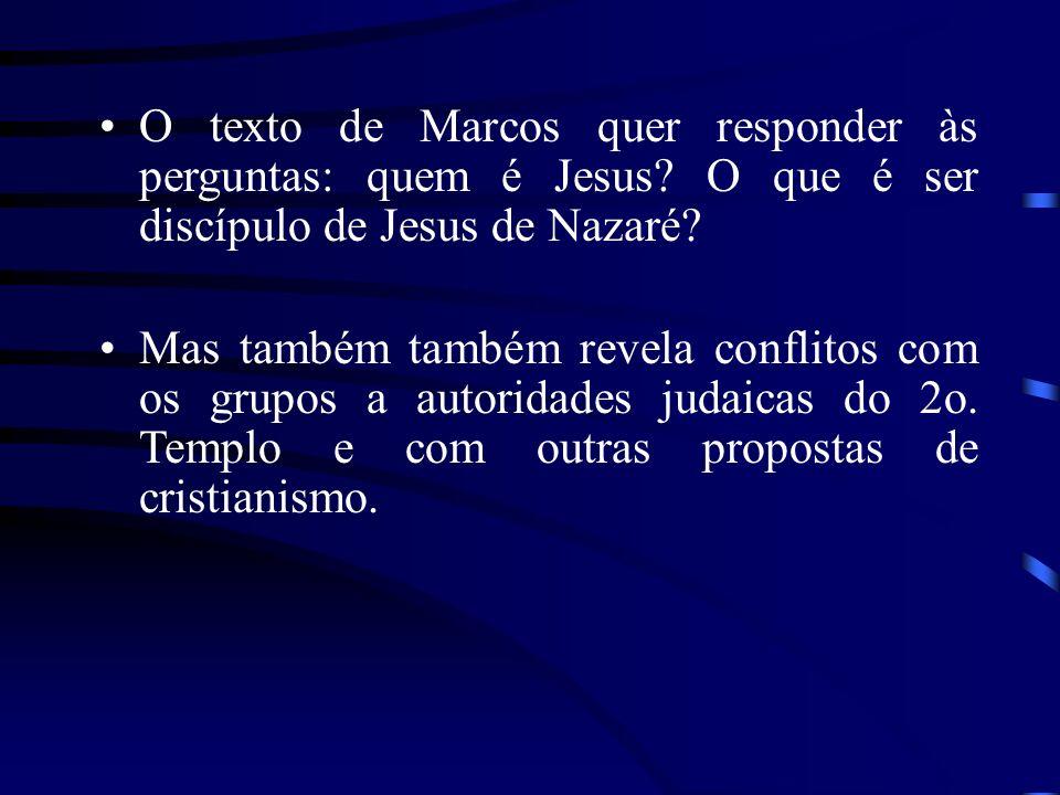 O texto de Marcos quer responder às perguntas: quem é Jesus? O que é ser discípulo de Jesus de Nazaré? Mas também também revela conflitos com os grupo
