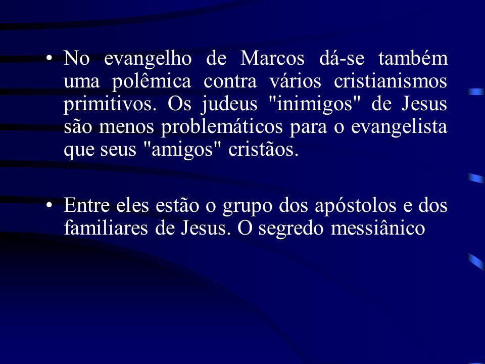 O chamado segredo messiânico no evangelho de Marcos quer evitar a imagem de um Jesus curandeiro, ou seja, um Jesus dos milagres .