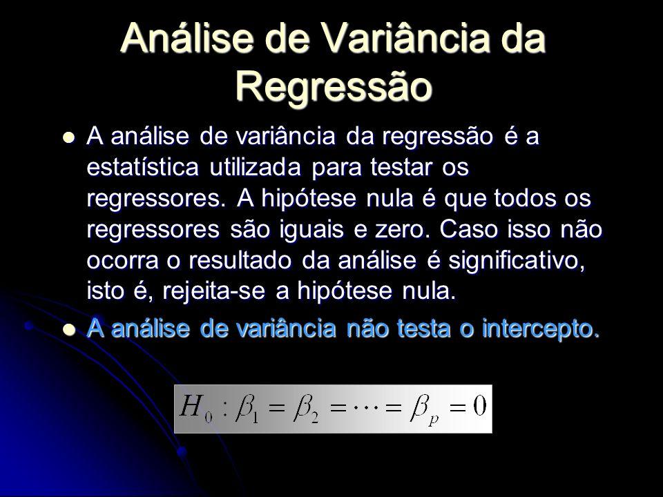 A análise de variância da regressão é a estatística utilizada para testar os regressores. A hipótese nula é que todos os regressores são iguais e zero
