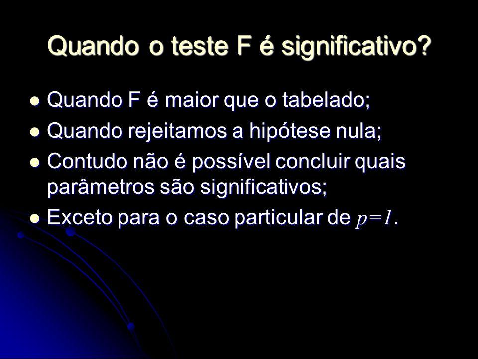 Quando o teste F é significativo? Quando F é maior que o tabelado; Quando F é maior que o tabelado; Quando rejeitamos a hipótese nula; Quando rejeitam