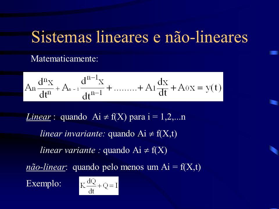 Sistemas lineares e não-lineares Matematicamente: Linear : quando Ai f(X) para i = 1,2,...n linear invariante: quando Ai f(X,t) linear variante : quan