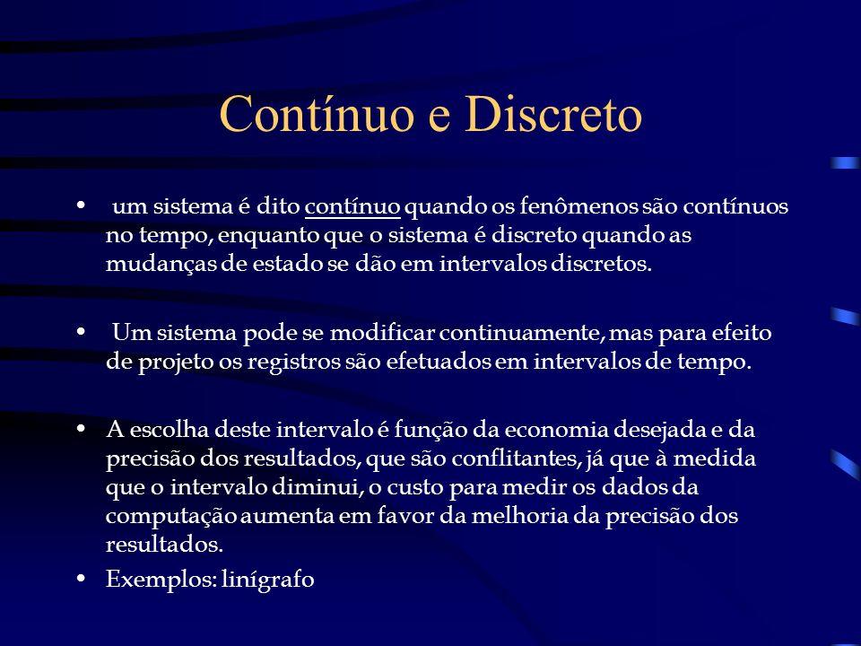 Contínuo e Discreto um sistema é dito contínuo quando os fenômenos são contínuos no tempo, enquanto que o sistema é discreto quando as mudanças de est