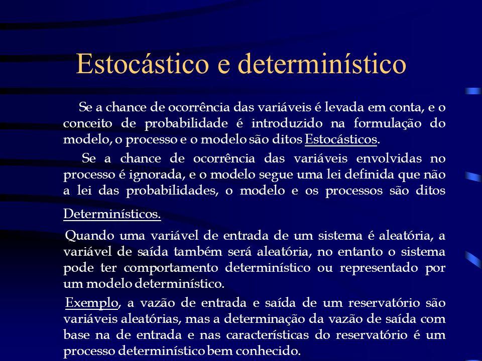 Estocástico e determinístico Se a chance de ocorrência das variáveis é levada em conta, e o conceito de probabilidade é introduzido na formulação do m