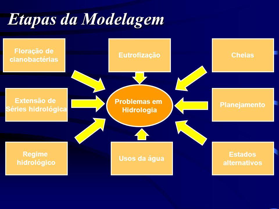 Etapas da Modelagem Problemas em Hidrologia Cheias Planejamento Estados alternativos Usos da água Regime hidrológico Extensão de Séries hidrológica Fl