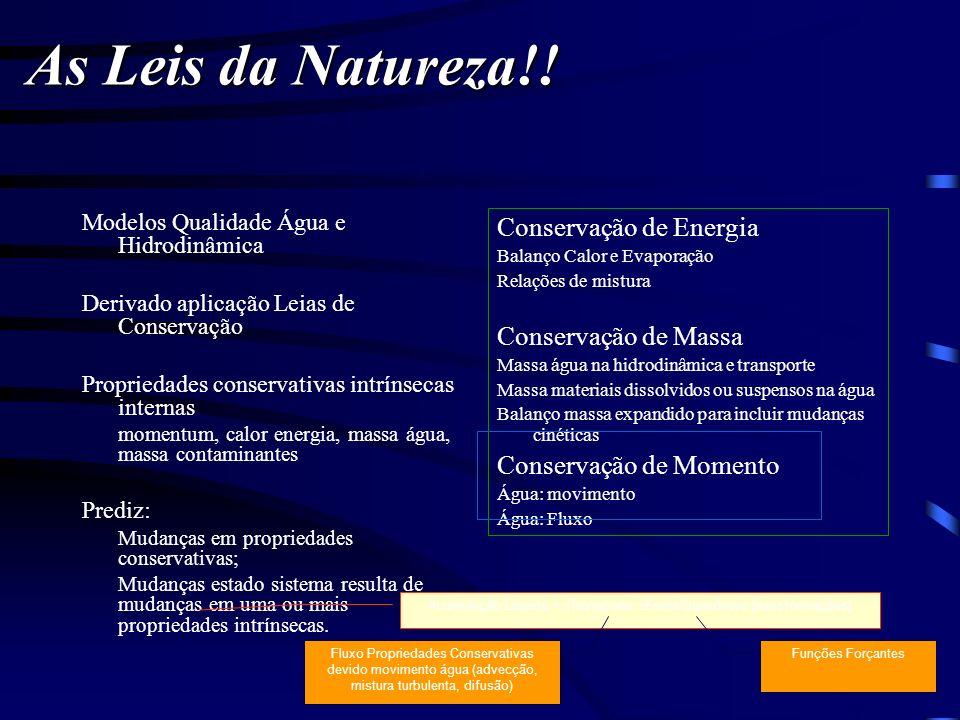 Modelos Qualidade Água e Hidrodinâmica Derivado aplicação Leias de Conservação Propriedades conservativas intrínsecas internas momentum, calor energia