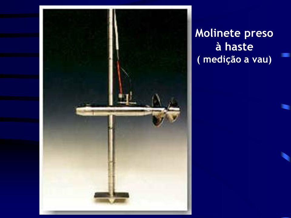 Molinete preso à haste ( medição a vau)