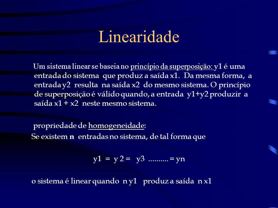 Linearidade Um sistema linear se baseia no princípio da superposição: y1 é uma entrada do sistema que produz a saída x1. Da mesma forma, a entrada y2