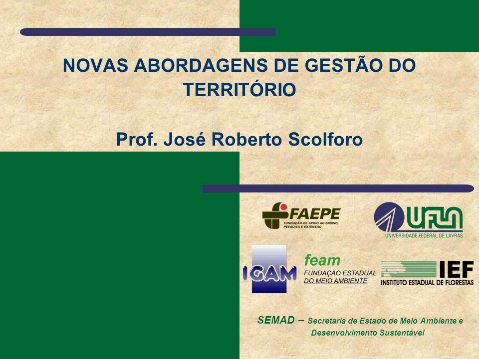 SEMAD – Secretaria de Estado de Meio Ambiente e Desenvolvimento Sustentável NOVAS ABORDAGENS DE GESTÃO DO TERRITÓRIO Prof. José Roberto Scolforo