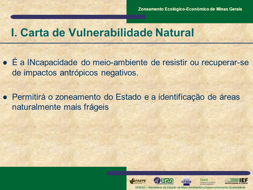 SEMAD – Secretaria de Estado de Meio Ambiente e Desenvolvimento Sustentável Zoneamento Ecológico-Econômico de Minas Gerais I. Carta de Vulnerabilidade