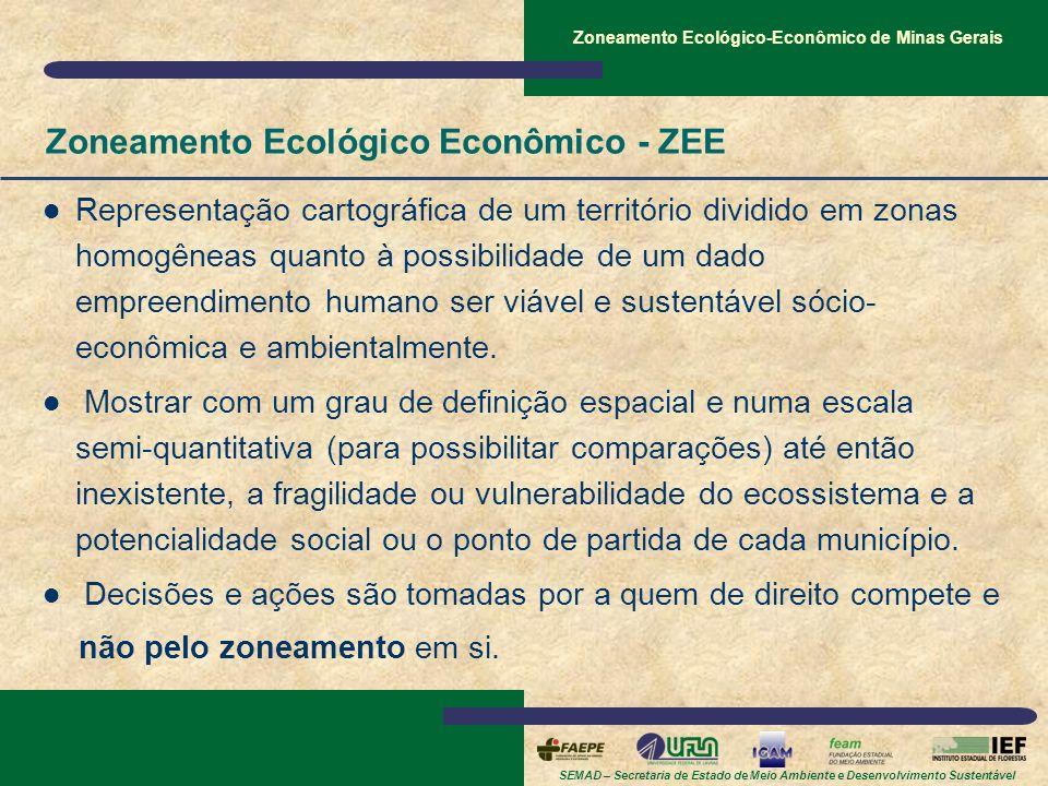 SEMAD – Secretaria de Estado de Meio Ambiente e Desenvolvimento Sustentável Zoneamento Ecológico-Econômico de Minas Gerais Zoneamento Ecológico Econôm