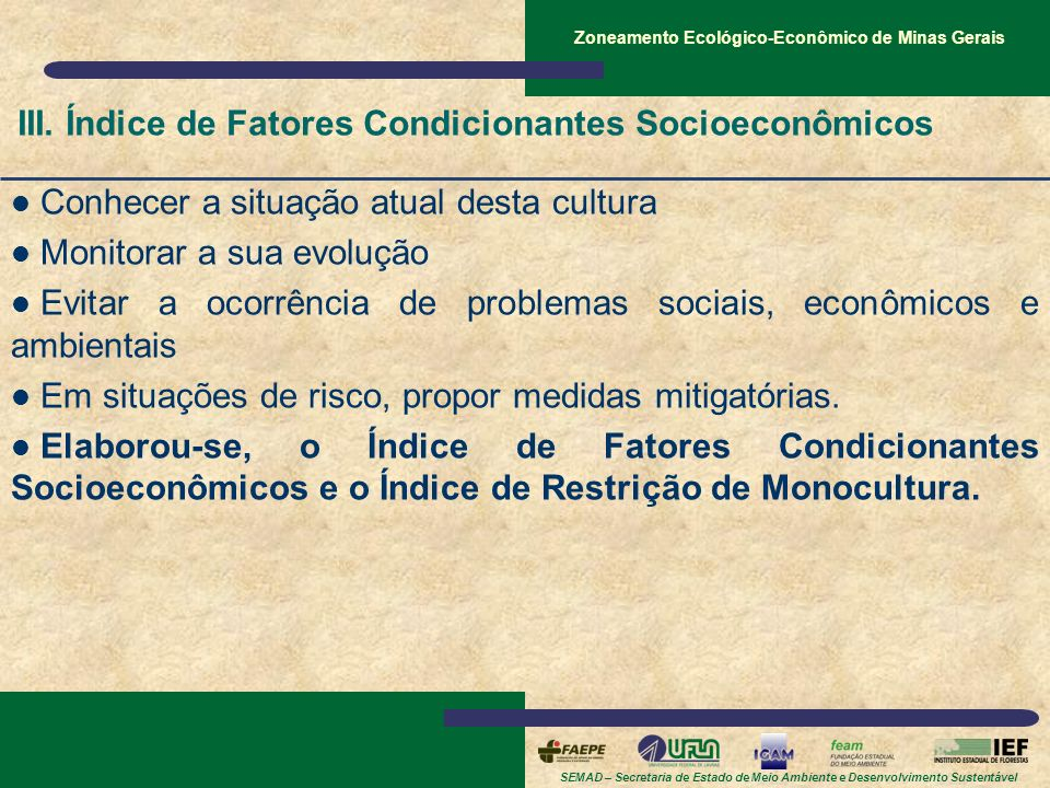 SEMAD – Secretaria de Estado de Meio Ambiente e Desenvolvimento Sustentável Zoneamento Ecológico-Econômico de Minas Gerais III. Índice de Fatores Cond