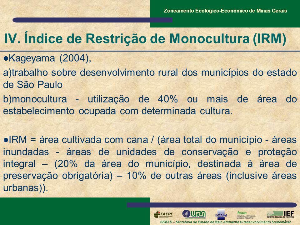 SEMAD – Secretaria de Estado de Meio Ambiente e Desenvolvimento Sustentável Zoneamento Ecológico-Econômico de Minas Gerais IV. Índice de Restrição de