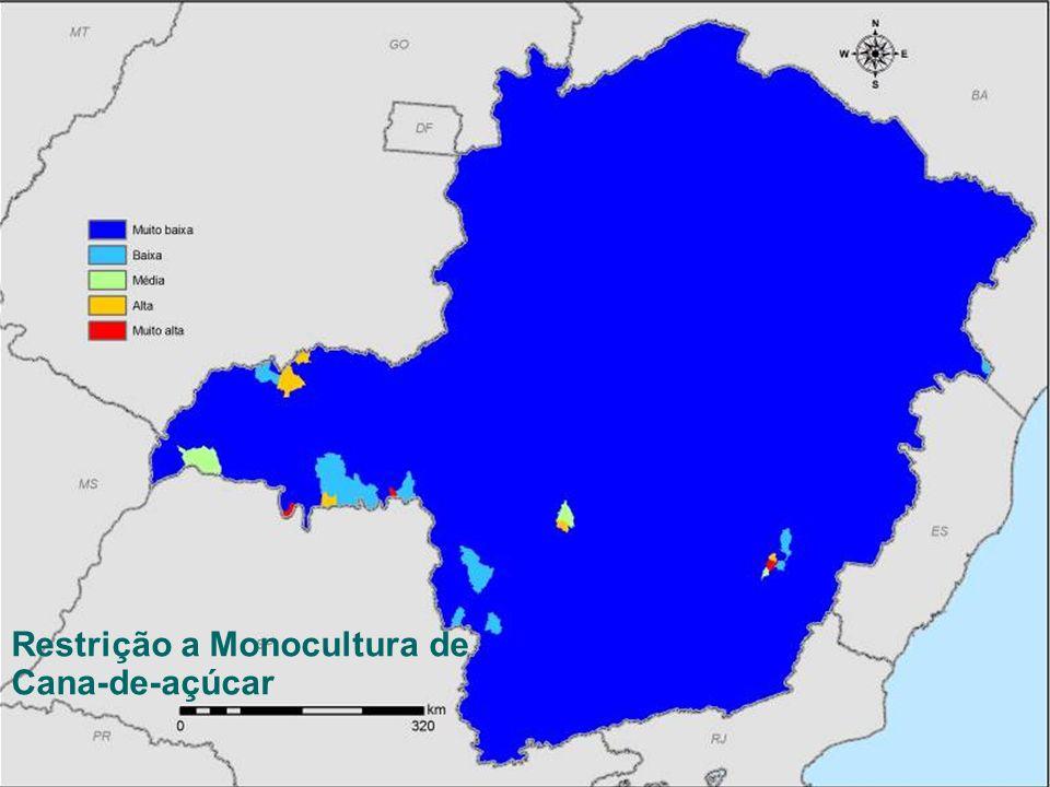 SEMAD – Secretaria de Estado de Meio Ambiente e Desenvolvimento Sustentável Zoneamento Ecológico-Econômico de Minas Gerais Cana-de-açúcar Restrição a