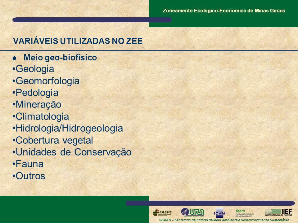 SEMAD – Secretaria de Estado de Meio Ambiente e Desenvolvimento Sustentável Zoneamento Ecológico-Econômico de Minas Gerais VARIÁVEIS UTILIZADAS NO ZEE