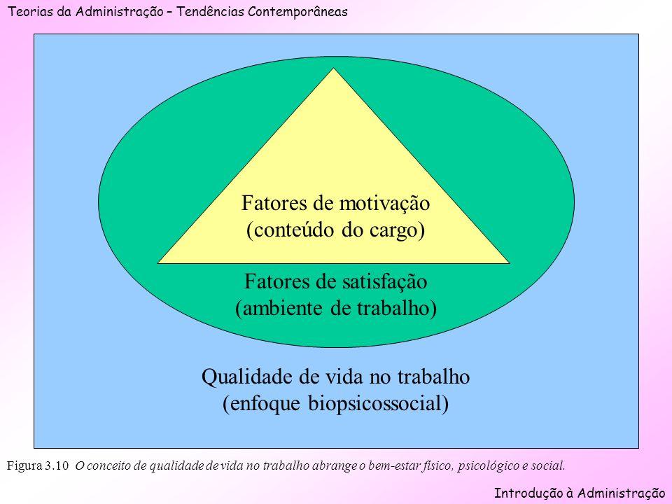 Teorias da Administração – Tendências Contemporâneas Introdução à Administração Qualidade de vida no trabalho (enfoque biopsicossocial) Figura 3.10 O