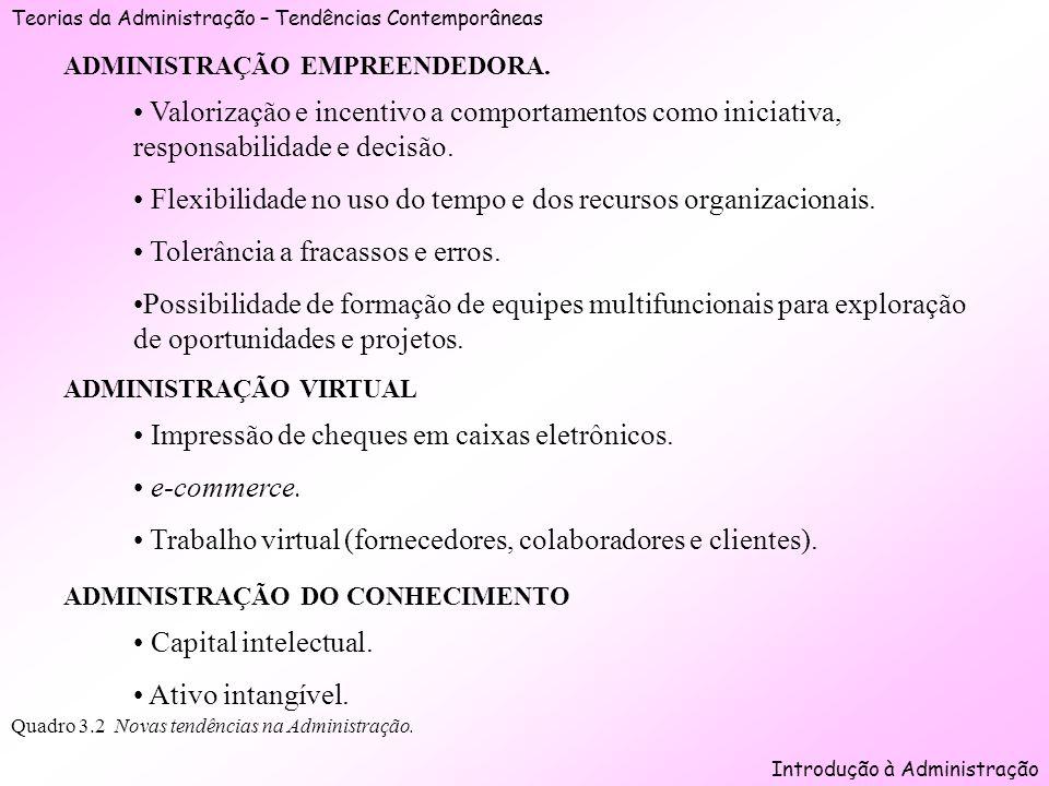 Teorias da Administração – Tendências Contemporâneas Introdução à Administração Quadro 3.2 Novas tendências na Administração. ADMINISTRAÇÃO EMPREENDED