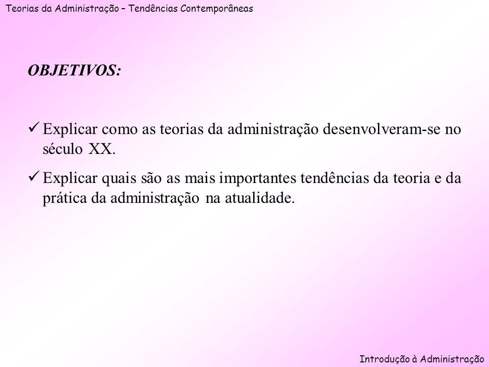 Teorias da Administração – Tendências Contemporâneas Introdução à Administração OBJETIVOS: Explicar como as teorias da administração desenvolveram-se