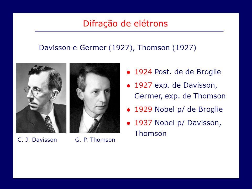 Davisson e Germer (1927), Thomson (1927) Difração de elétrons C. J. Davisson G. P. Thomson l 1924 Post. de de Broglie l 1927 exp. de Davisson, Germer,