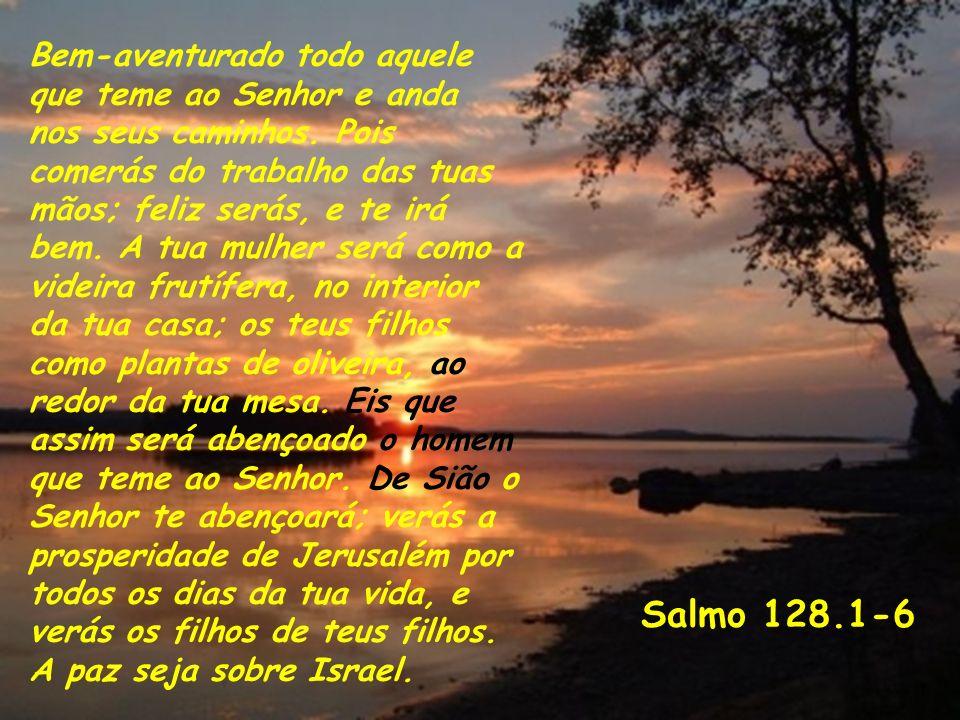 Salmo 128.1-6 Bem-aventurado todo aquele que teme ao Senhor e anda nos seus caminhos. Pois comerás do trabalho das tuas mãos; feliz serás, e te irá be