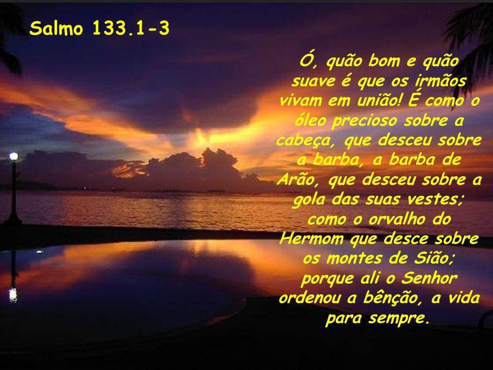Salmo 133.1-3 Ó, quão bom e quão suave é que os irmãos vivam em união! É como o óleo precioso sobre a cabeça, que desceu sobre a barba, a barba de Arã
