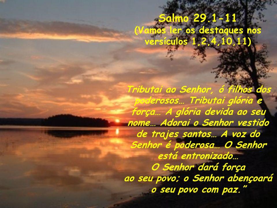 Salmo 29.1-11 (Vamos ler os destaques nos versículos 1,2,4,10,11) Tributai ao Senhor, ó filhos dos poderosos… Tributai glória e força… A glória devida