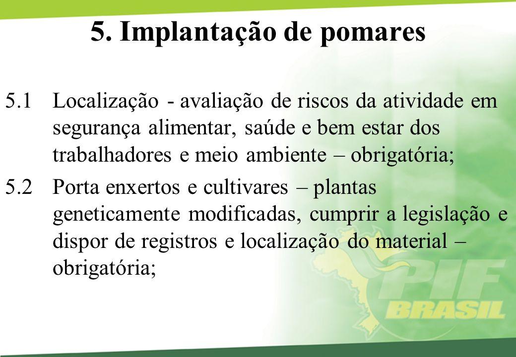 5. Implantação de pomares 5.1 Localização - avaliação de riscos da atividade em segurança alimentar, saúde e bem estar dos trabalhadores e meio ambien