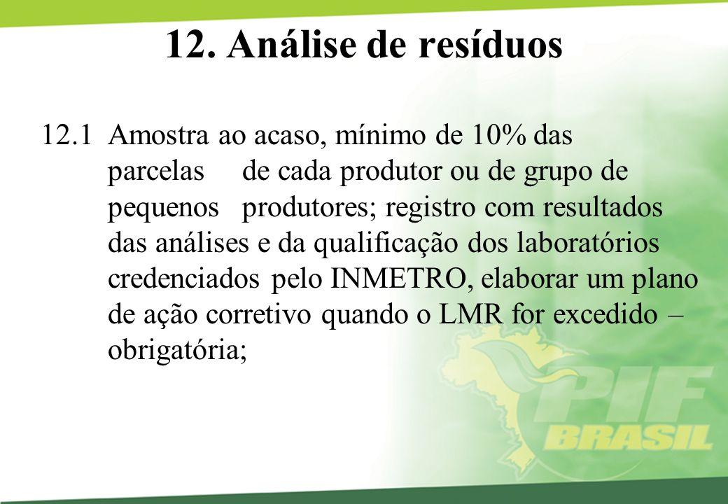 12. Análise de resíduos 12.1 Amostra ao acaso, mínimo de 10% das parcelas de cada produtor ou de grupo de pequenos produtores; registro com resultados