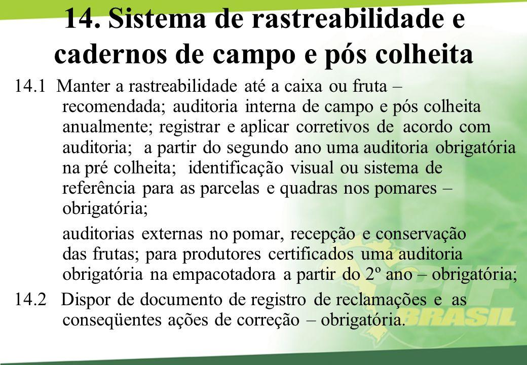 14. Sistema de rastreabilidade e cadernos de campo e pós colheita 14.1 Manter a rastreabilidade até a caixa ou fruta – recomendada; auditoria interna