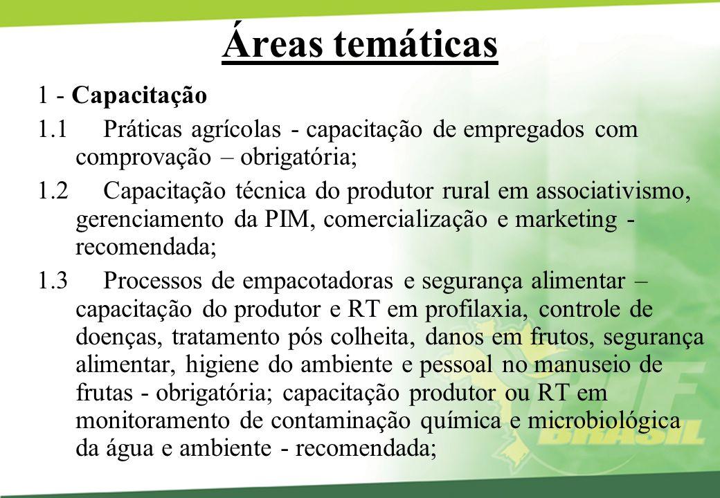 Áreas temáticas 1 - Capacitação 1.1 Práticas agrícolas - capacitação de empregados com comprovação – obrigatória; 1.2 Capacitação técnica do produtor