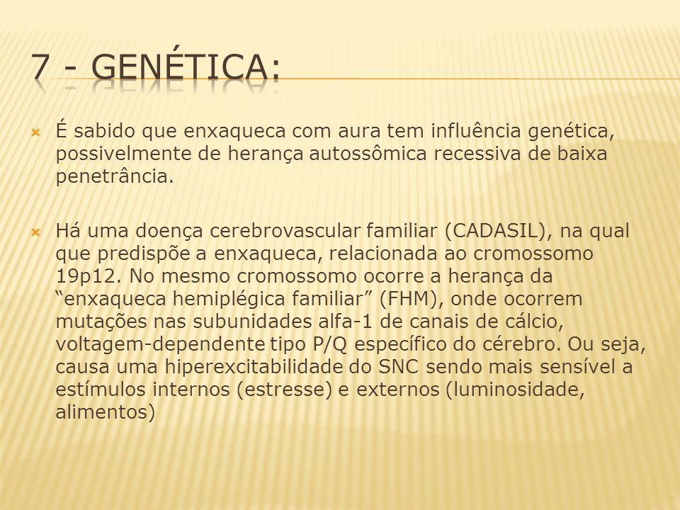 É sabido que enxaqueca com aura tem influência genética, possivelmente de herança autossômica recessiva de baixa penetrância. Há uma doença cerebrovas