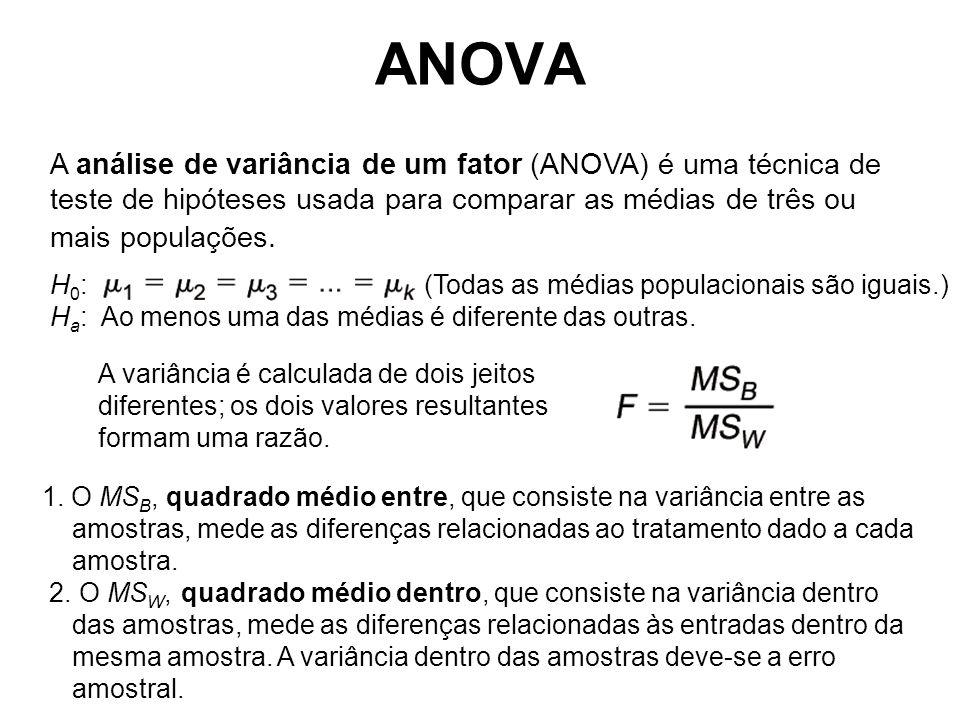 A análise de variância de um fator (ANOVA) é uma técnica de teste de hipóteses usada para comparar as médias de três ou mais populações. A variância é