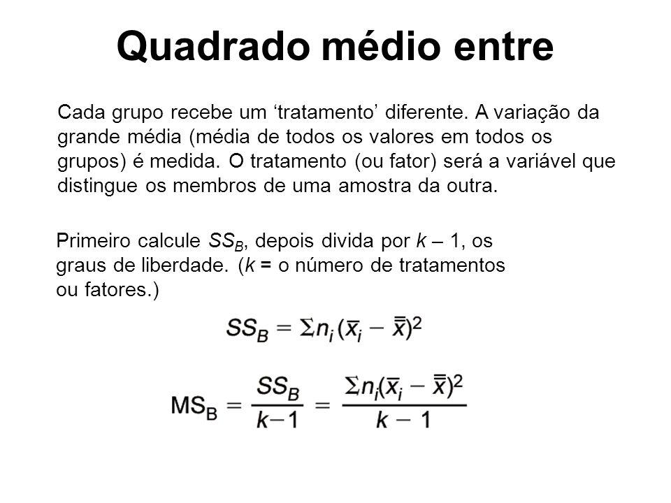 Cada grupo recebe um tratamento diferente. A variação da grande média (média de todos os valores em todos os grupos) é medida. O tratamento (ou fator)
