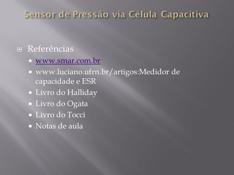 Referências www.smar.com.br www.luciano.ufrn.br/artigos:Medidor de capacidade e ESR Livro do Halliday Livro do Ogata Livro do Tocci Notas de aula