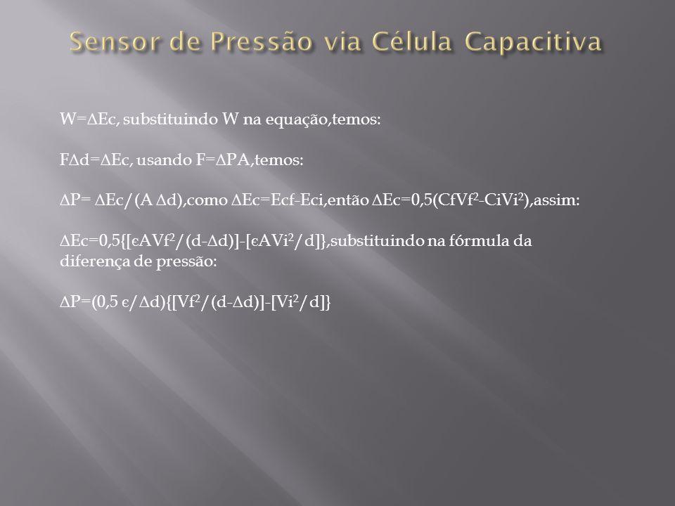 W=Ec, substituindo W na equação,temos: Fd=Ec, usando F=PA,temos: P= Ec/(A d),como Ec=Ecf-Eci,então Ec=0,5(CfVf 2 -CiVi 2 ),assim: Ec=0,5{[ є AVf 2 /(d