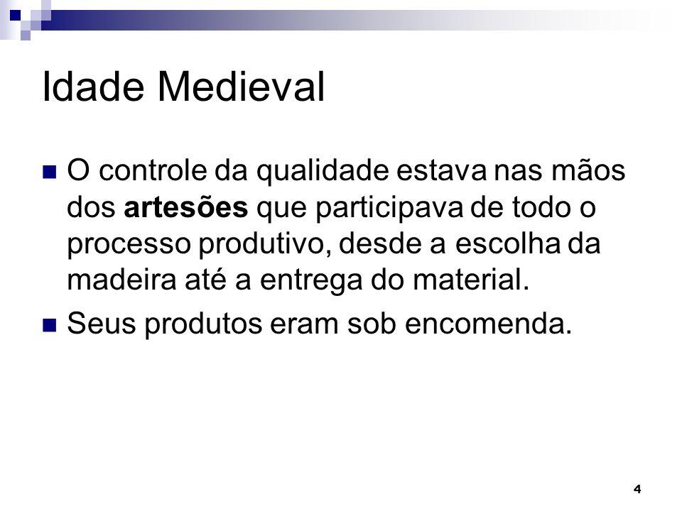 4 Idade Medieval O controle da qualidade estava nas mãos dos artesões que participava de todo o processo produtivo, desde a escolha da madeira até a entrega do material.