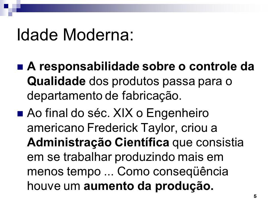 5 Idade Moderna: A responsabilidade sobre o controle da Qualidade dos produtos passa para o departamento de fabricação.