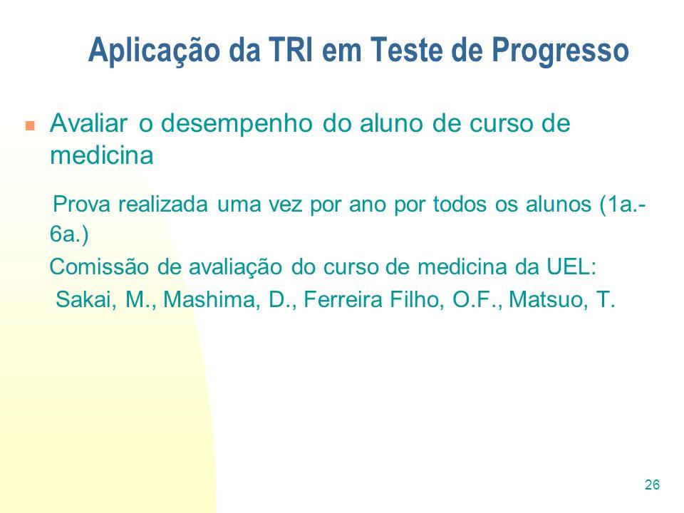 26 Aplicação da TRI em Teste de Progresso Avaliar o desempenho do aluno de curso de medicina Prova realizada uma vez por ano por todos os alunos (1a.-