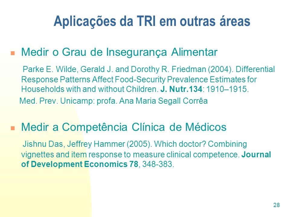 28 Aplicações da TRI em outras áreas Medir o Grau de Insegurança Alimentar Parke E. Wilde, Gerald J. and Dorothy R. Friedman (2004). Differential Resp