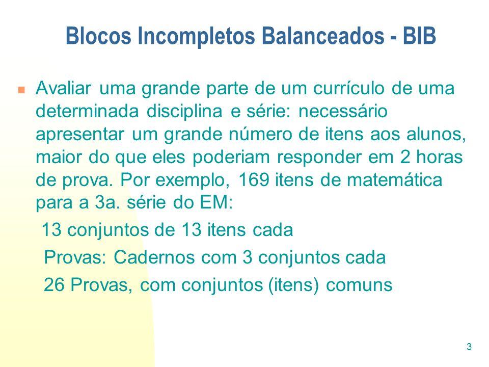 3 Blocos Incompletos Balanceados - BIB Avaliar uma grande parte de um currículo de uma determinada disciplina e série: necessário apresentar um grande