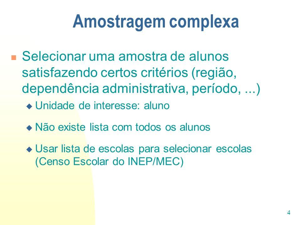 4 Amostragem complexa Selecionar uma amostra de alunos satisfazendo certos critérios (região, dependência administrativa, período,...) Unidade de inte