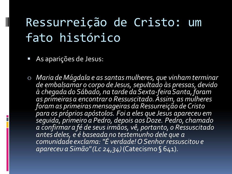 Ressurreição de Cristo: um fato histórico As aparições de Jesus: o Maria de Mágdala e as santas mulheres, que vinham terminar de embalsamar o corpo de