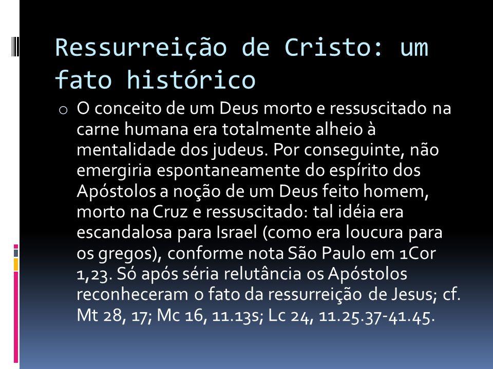 Ressurreição de Cristo: um fato histórico o O conceito de um Deus morto e ressuscitado na carne humana era totalmente alheio à mentalidade dos judeus.
