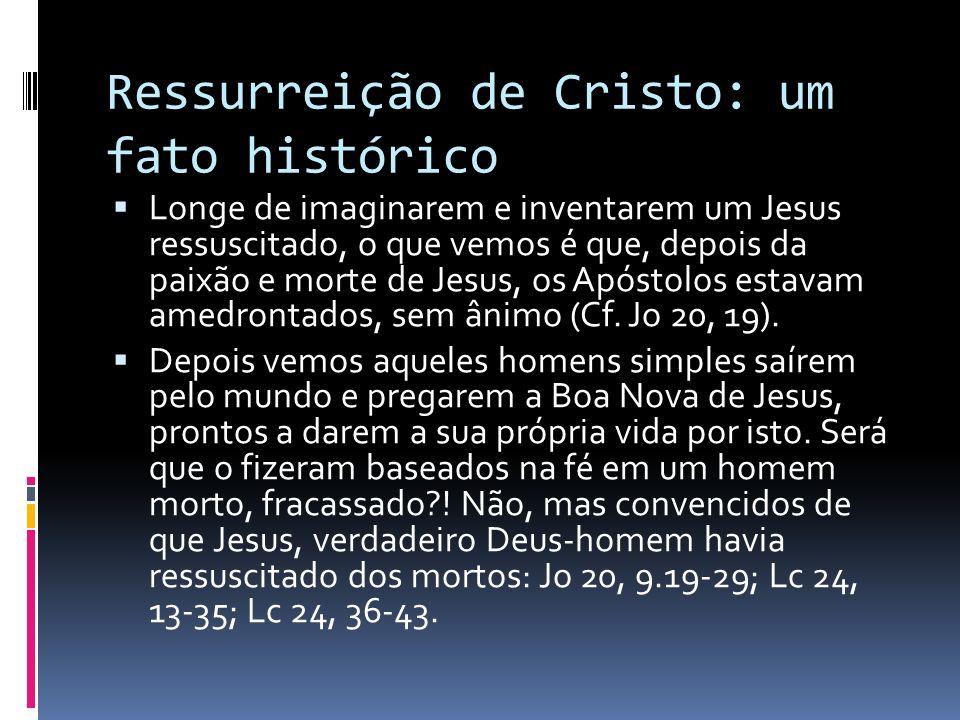 Ressurreição de Cristo: um fato histórico Longe de imaginarem e inventarem um Jesus ressuscitado, o que vemos é que, depois da paixão e morte de Jesus