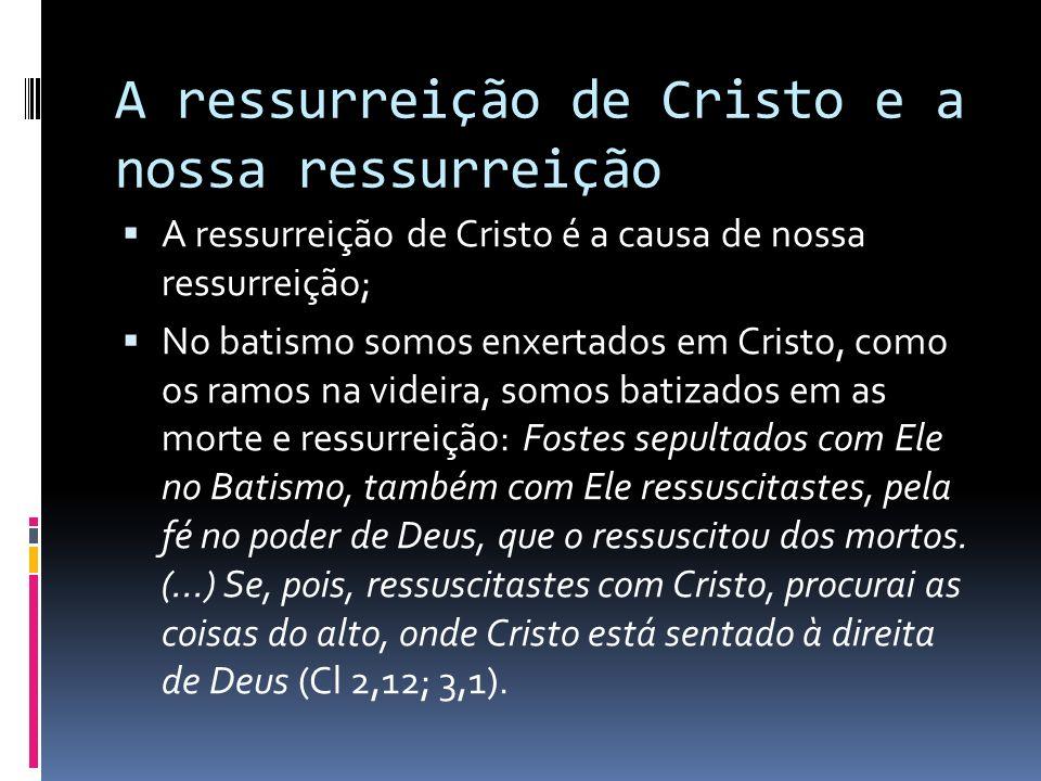 A ressurreição de Cristo e a nossa ressurreição A ressurreição de Cristo é a causa de nossa ressurreição; No batismo somos enxertados em Cristo, como