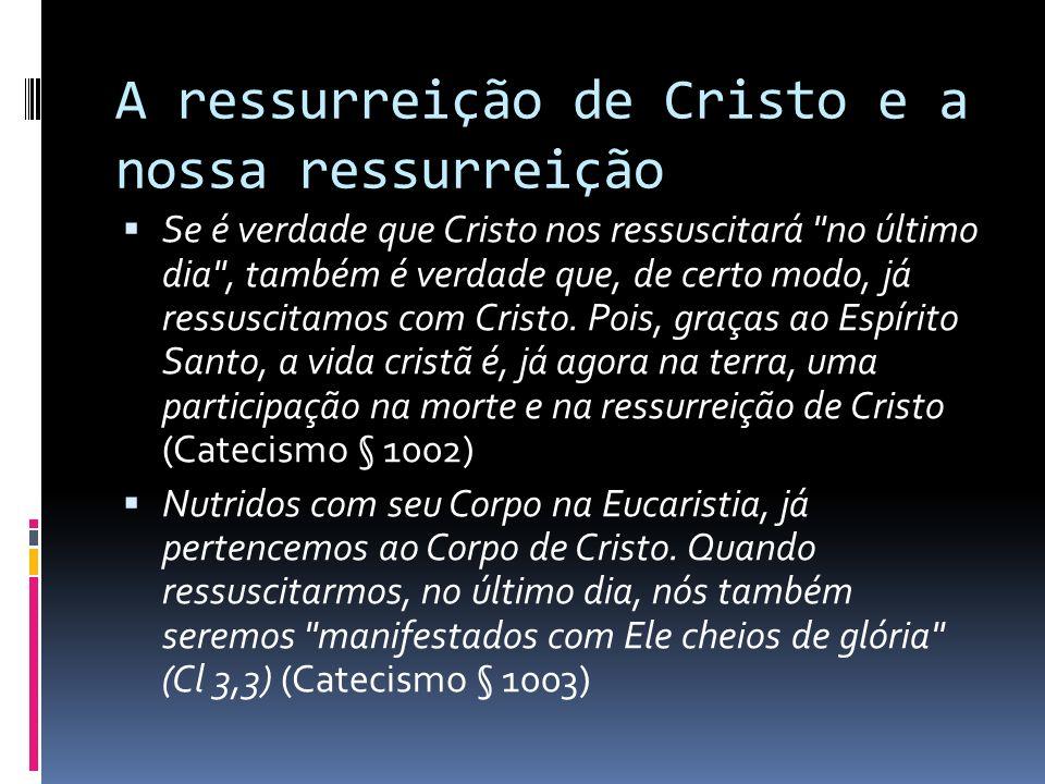 A ressurreição de Cristo e a nossa ressurreição Se é verdade que Cristo nos ressuscitará