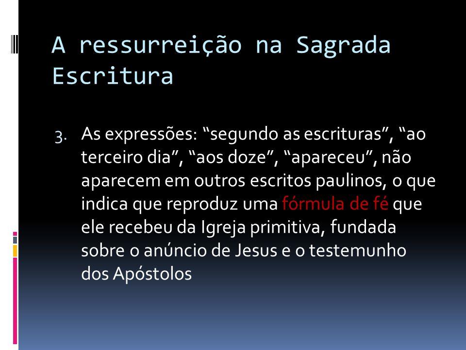 A ressurreição na Sagrada Escritura 3. As expressões: segundo as escrituras, ao terceiro dia, aos doze, apareceu, não aparecem em outros escritos paul