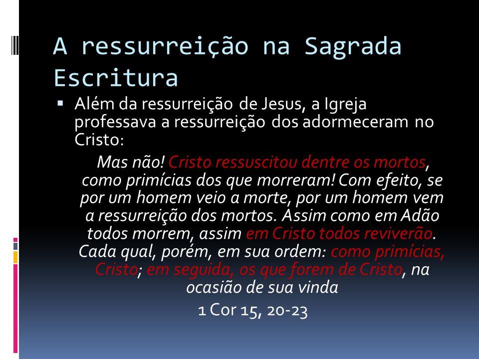 A ressurreição na Sagrada Escritura Além da ressurreição de Jesus, a Igreja professava a ressurreição dos adormeceram no Cristo: Mas não! Cristo ressu