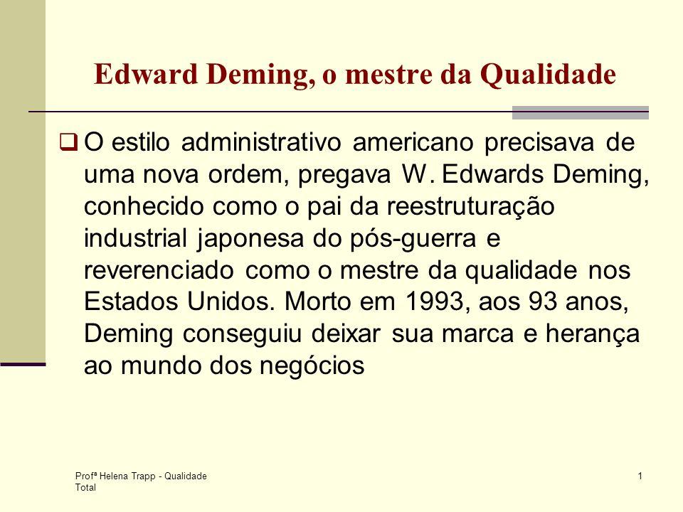 Profª Helena Trapp - Qualidade Total 1 Edward Deming, o mestre da Qualidade O estilo administrativo americano precisava de uma nova ordem, pregava W.